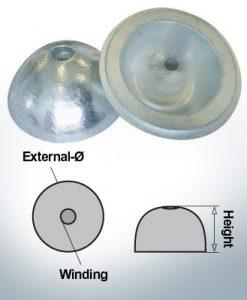 Cappucci a un foro   adatti per VP-104 Ø88/H35 (AlZn5In)