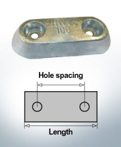 Anodi di blocco e di fusoliera Blocco L150/80 (Zinco)