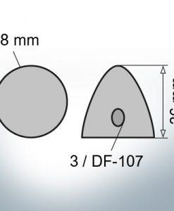 Cappucci a tre fori  | adatti per DF-107 Ø78/H36 (Zinco)