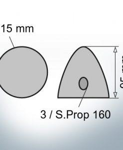 Cappucci a tre fori    S.Prop 160 Ø115/H95 (AlZn5In)
