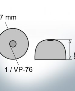 Cappucci a un foro   adatti per VP-76 Ø67/H27 (AlZn5In)