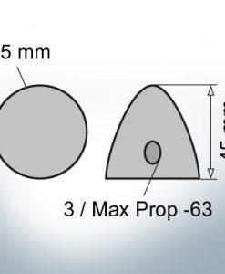 Cappucci a tre fori    Max Prop -63 Ø65/H45 (AlZn5In)