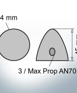 Cappucci a tre fori    Max Prop AN70 Ø74/H45 (Zinco)