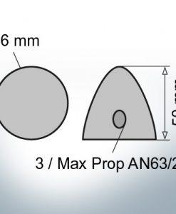 Cappucci a due fori   Max Prop AN63/2 Ø36/H50 (AlZn5In)