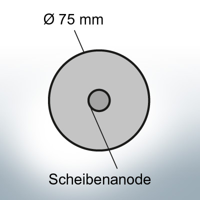 Anodi a disco Ø 75mm |  foro passante (Zinco)