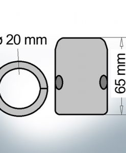 Anodo ad onda con diametro interno metrico  20 mm (AlZn5In)