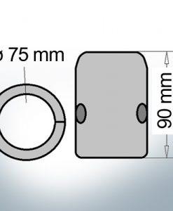 Anodo ad onda con diametro interno metrico 75 mm (Zinco)