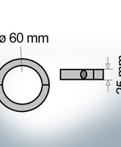 Anodi ad onda anelli con diametro interno metrico 60 mm (AlZn5In)