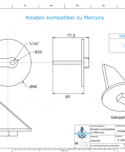Anodes compatible to Mercury | Trim-Tab-Anode short 31640 7/16