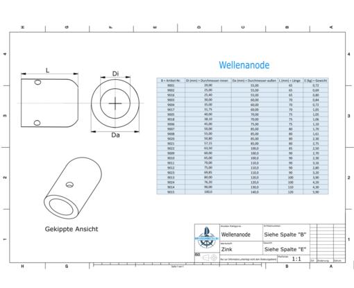 Shaft-Anode with metric inner diameter 25 mm | 9002