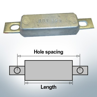 Anodi di blocco e di fusoliera Quadrato L110/145 (Zinco) | 9303