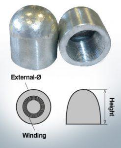 Dadi a cupola M27x1,5 Ø40/H40 (AlZn5In)   9402AL