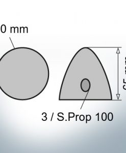 Three-Hole-Caps | Prowell Sailprop 100 Ø60/H65 (Zinc) | 9407