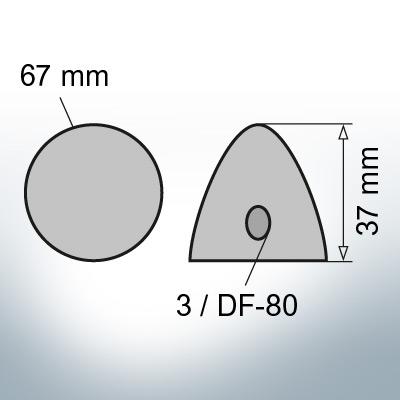 Three-Hole-Caps | suitable for DF-80 Ø67/H37 (Zinc) | 9414