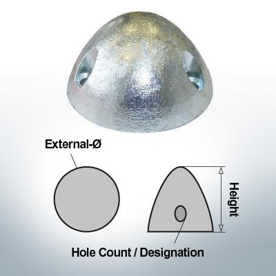 Cappucci a tre fori | adatti per DF-80 Ø67/H37 (Zinco) | 9414