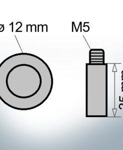 Bolt-Anodes M5 Ø12/L35 (Zinc) | 9125