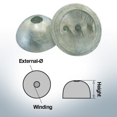 Cappucci a un foro   adatti per VP-64 Ø55/H22 (Zinco)   9451
