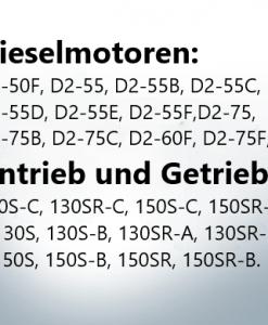Antrieb und Getriebe: 130S-C, 130SR-C, 150S-C, 150SR-C,130S, 130S-B, 130SR-A, 130SR-B,150S, 150S-B, 150SR, 150SR-B.