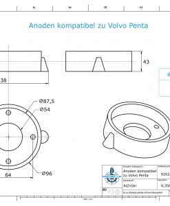 Anodes compatible to Volvo Penta   Ring-Anode Saildrive 110 875812 (AlZn5In)   9202AL