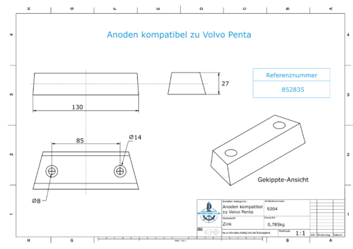 Anodes compatible to Volvo Penta   Block-Anode 290 / Duo-Prop 852835 (Zinc)   9204