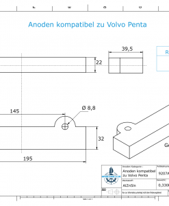 Anodes compatible to Volvo Penta   Block-Anode 250/270/280 832598 (AlZn5In)   9207AL