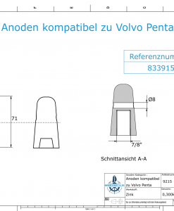 Anodes compatible to Volvo Penta   Cap-Anode 7/8