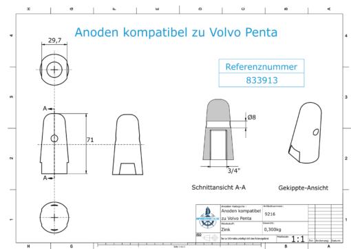 "Anodes compatible to Volvo Penta | Cap-Anode 3/4"" 833913 (Zinc) | 9216"