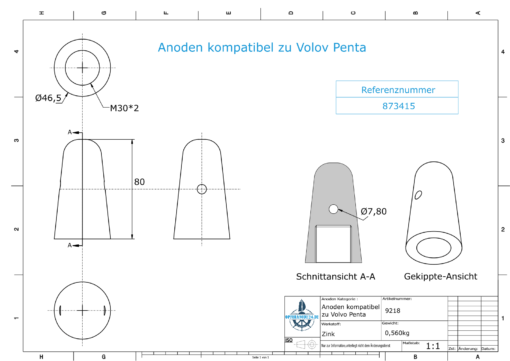 Anodes compatible to Volvo Penta   Cap-Anode M30x2 873415 (Zinc)   9218