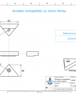 Anodes compatible to Volvo Penta   Lenkgabelanode 872675 (Zinc)   9228