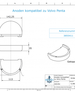 Anodes compatible to Volvo Penta   Block-Anode Zn Mg 3855411 (AlZn5In)   9236AL