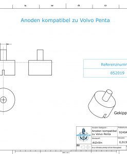 Anodes compatible to Volvo Penta   Bolt-Anode 14 x 22 M6 852019 (AlZn5In)   9240AL