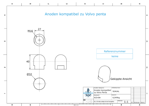 Anodes compatible to Volvo Penta   Cap-Anode M16x1,5 short (AlZn5In)   9241AL
