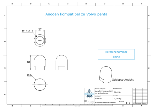 Anodes compatible to Volvo Penta   Cap-Anode M18x1,5 short (AlZn5In)   9242AL