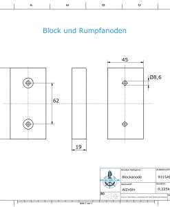 Block- and Ribbon-Anodes Block L120/62 (AlZn5In)   9315AL
