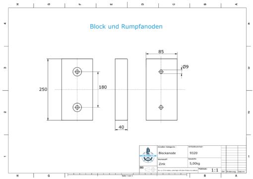 Block- and Ribbon-Anodes Block L250/180 (Zinc)   9320
