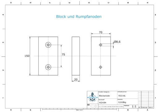 Block- and Ribbon-Anodes Block L150/75 (AlZn5In)   9321AL