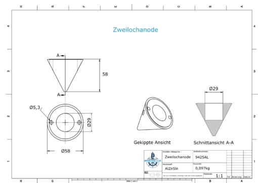 Two-Hole-Caps | Boy-Prop Ø58/H58 (AlZn5In) | 9425AL