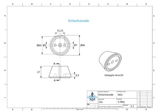 One-Hole-Caps   suitable for VP-76 Ø67/H27 (Zinc)   9452