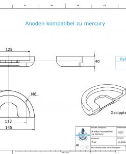 Anodes compatible to Mercury   Anode-Plate Cobra 984513 (Zinc)   9527