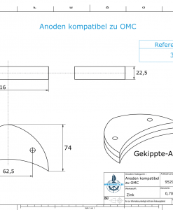 Anodes compatible to Mercury   Anode-Plate Ev/Jo 392123 (Zinc)   9529