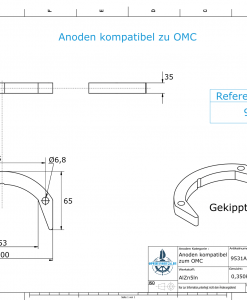 Anodes compatible to Mercury   Anode-Kit Ev/Jo 392462 (AlZn5In)   9531AL
