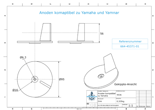 Anodes compatible to Yamaha and Yanmar   Trim-Tab-Anode <40PS 664-45371-01 (Zinc)   9536