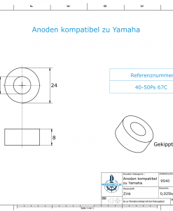 Anodes compatible to Yamaha and Yanmar   Knob-Anode 616-45251-30 (Zinc)   9540