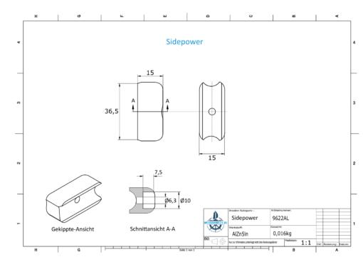 Sidepower 687-71180 Volvo 5,3 KW (AlZn5In)   9622AL