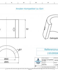 Anodes compatible to Gori | 3-blade Saildrive, Ref.: 1553950000 18
