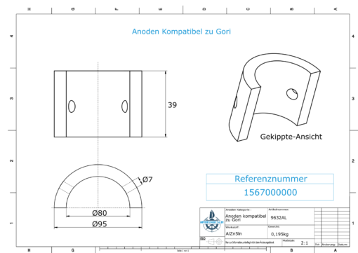 "Anodes compatible to Gori | Saildrive 13""-18""| 2-flg. | 1567000000 | 9632AL"