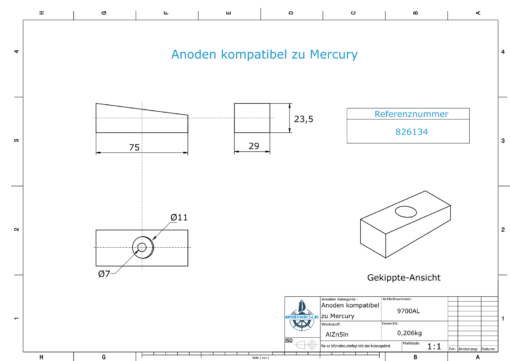 Anodes compatible to Mercury   Shaft-Anode 826134 (AlZn5In)   9700AL