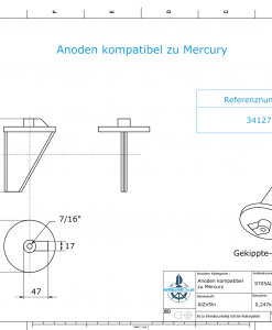 Anodes compatible to Mercury | Trim-Tab-Anode long 34127 (AlZn5In) | 9705AL