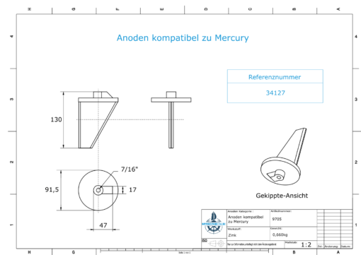 Anodes compatible to Mercury   Trim-Tab-Anode long 34127 (Zinc)   9705