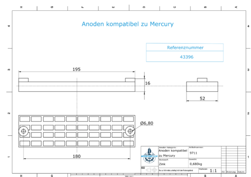 Anodes compatible to Mercury   Grid-Anode 43396 (Zinc)   9711